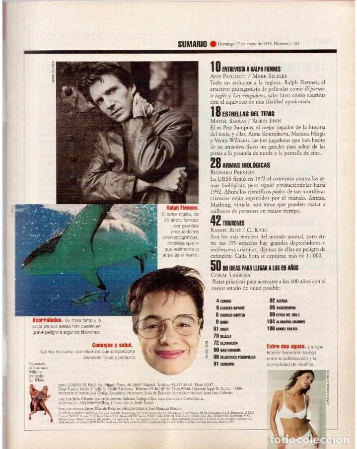 Coleccionismo de Periódico El País: 1999. RALF FIENNES. PETE SAMPRAS. MARÍA ESTEVE. VER SUMARIO. - Foto 2 - 138053858