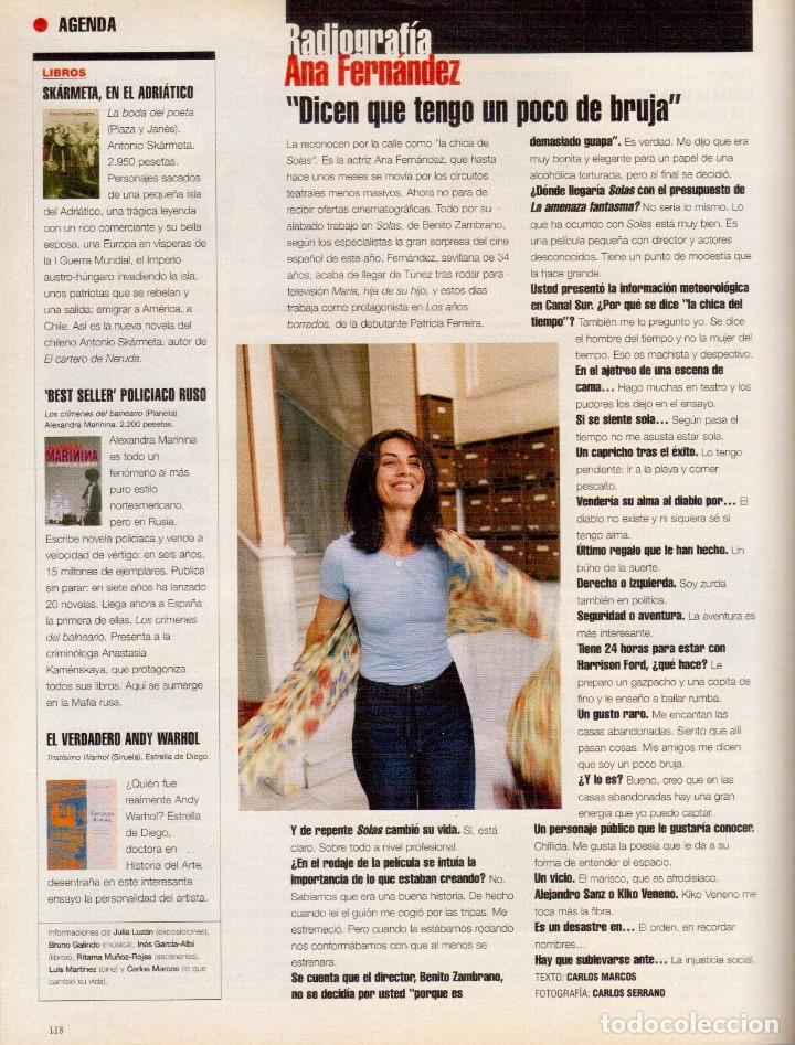 Coleccionismo de Periódico El País: 1999. BANDERAS - GRIFFITH. LA CASA DE SALVADOR DALÍ. ANA FERNÁNDEZ. VER SUMARIO. - Foto 8 - 138722098