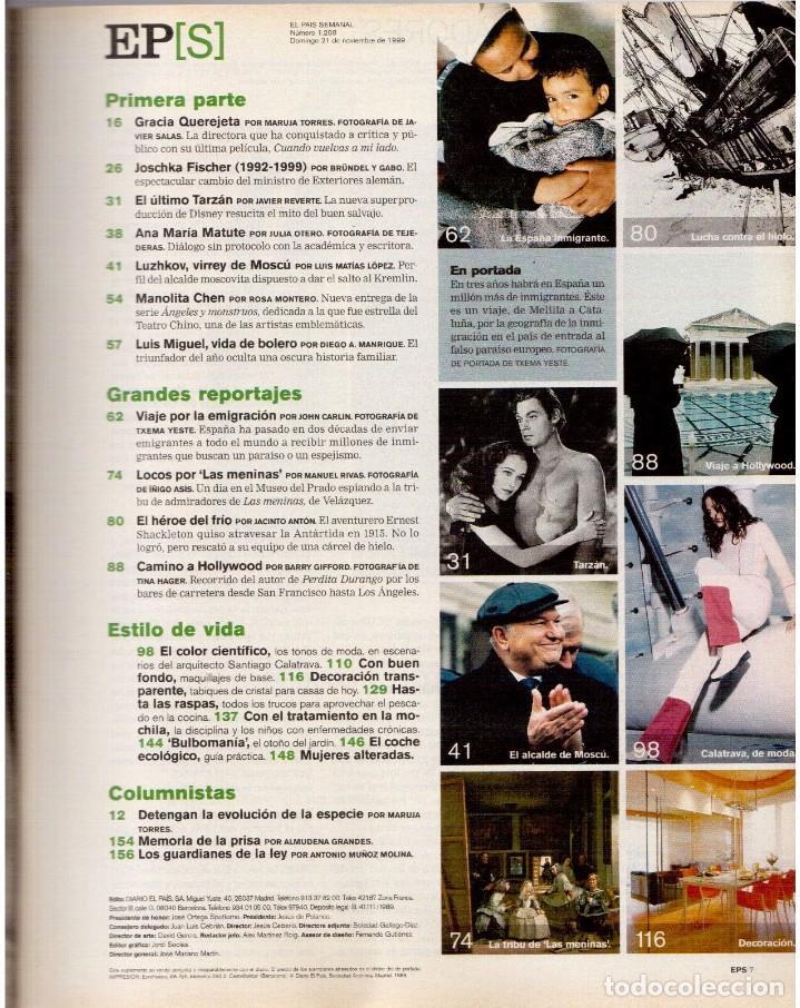 Coleccionismo de Periódico El País: 1999. GRACIA QUEREJETA. TARZÁN. MANOLITA CHEN. ERNEST SHACKLETON. VER SUMARIO. - Foto 2 - 138848070