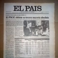 Coleccionismo de Periódico El País: EL PAIS DEL LUNES 30 DE OCTUBRE DE 1989 ELECCIONES GENERALES. Lote 143029942