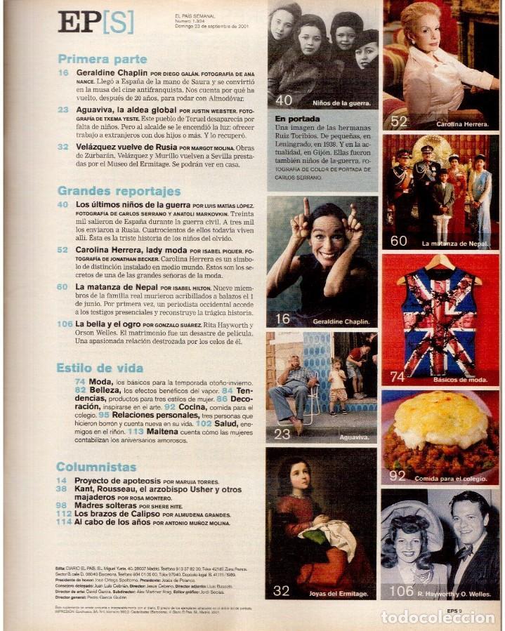 Coleccionismo de Periódico El País: 2001. GERALDINE CHAPLIN. AGUAVIVA. CAROLINA HERRERA. LA MATANZA DE NEPAL. RITA HAYWORTH Y O. WELLES. - Foto 2 - 145690058