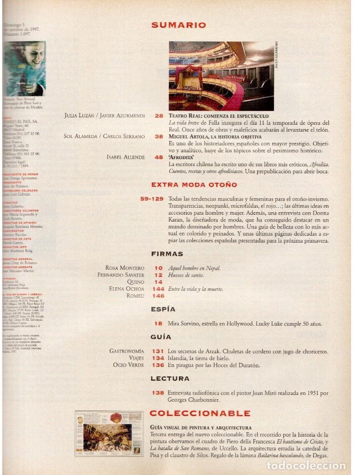 Coleccionismo de Periódico El País: 1997. mira sorbino. patti smith. lola baldrich. miguel artola. donna karan. miró. ver sumario. - Foto 2 - 145881398