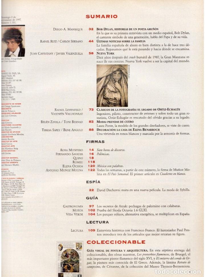 Coleccionismo de Periódico El País: 1997. bob dylan se confiesa. david duchovny. señor galindo. ortiz-echagüe. laura ponte. ver sumario - Foto 2 - 145970618