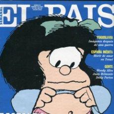 Coleccionismo de Periódico El País: EL PAIS SEMANAL-MAFALDA QUINO 10 PAG. 2 FOTOS A-DOBLE PAG-1 A PAG.ENTERA 1 A 1/2 PAG 13 DIBUJOS 1992. Lote 152374838