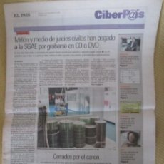 Coleccionismo de Periódico El País: CIBERPAIS Nº 439 2006. Lote 154016450