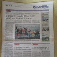Coleccionismo de Periódico El País: CIBERPAIS Nº 167 2001. Lote 154321226