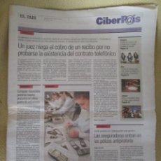 Coleccionismo de Periódico El País: CIBERPAIS Nº 176 2001. Lote 154321326