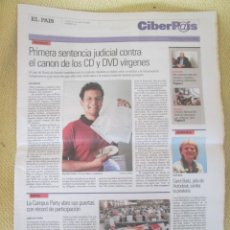 Coleccionismo de Periódico El País: CIBERPAIS Nº 374 2005. Lote 155978702