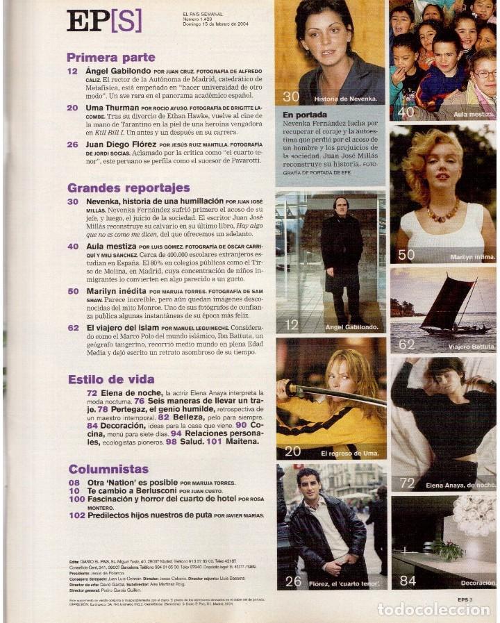 Coleccionismo de Periódico El País: 2004. nevenka fernández.angel gabilondo.uma thurman. juan diego flórez.marilyn monroe.elena anaya. - Foto 2 - 156585046