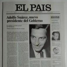 Coleccionismo de Periódico El País: 9 PORTADAS HISTÓRICAS DE EL PAÍS EN FACSÍMIL (LÁMINAS DE CARTÓN DE GRAN TAMAÑO). Lote 171268267
