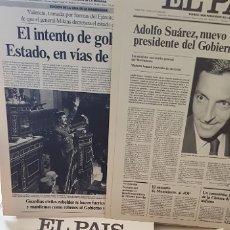 Coleccionismo de Periódico El País: PORTADAS EN CARTON DEL DIARIO EL PAIS EN GRAN FORMATO, FECHAS SEÑALADAS, VER LAS FOTOS. DECORACIÓN?. Lote 173131613