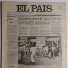 Coleccionismo de Periódico El País: DIARIO EL PAÍS - 19 SEPTIEMBRE 1980 - NÚMERO 1361 - SUÁREZ OBTIENE LA CONFIANZA DEL CONGRESO. Lote 186299992