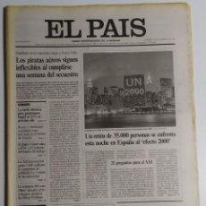 Coleccionismo de Periódico El País: DIARIO EL PAÍS - 31 DICIEMBRE1999 - NÚMERO 8261 - ÚLTIMO EJEMPLAR DEL SIGLO XX. Lote 186302222