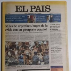 Coleccionismo de Periódico El País: DIARIO EL PAÍS - 31 DICIEMBRE 2000 - NÚMERO 8624 - ÚLTIMO EJEMPLAR DEL SIGLO XX. Lote 186302391