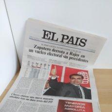 Collezionismo di Periódico El País: EL PAIS LUNES 15 MARZO 2004 RODRIGUEZ ZAPATERO ELECCIONES GENERALES PSOE PARTIDO SOCIALISTA. Lote 200280205