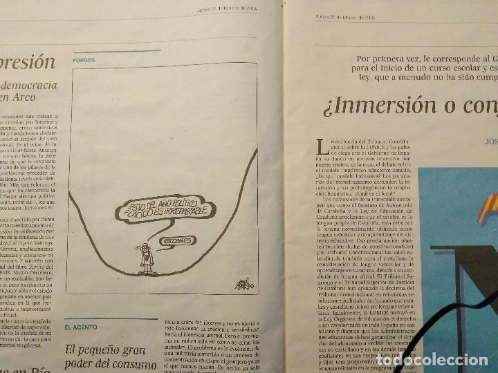 Coleccionismo de Periódico El País: FORGES - ÚLTIMA VIÑETA - DIARIO EL PAÍS 22/02/2018 - Foto 2 - 204810461