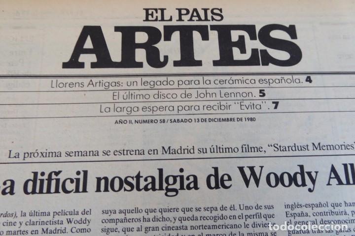 Coleccionismo de Periódico El País: ARTES. SUPLEMENTO EL PAÍS. AÑO II Nº 58. 1980 - Foto 2 - 60953871