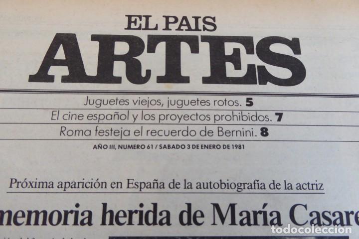 Coleccionismo de Periódico El País: ARTES. SUPLEMENTO EL PAÍS. AÑO III Nº 61. 1981 - Foto 2 - 60954071