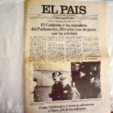 Coleccionismo de Periódico El País: EL PAÍS - 23-F - EDICIÓN 1 DE LA TARDE. Lote 243055080