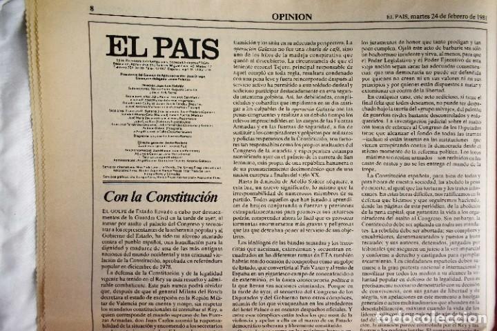 Coleccionismo de Periódico El País: EL PAÍS - 23-F - EDICIÓN 1 DE LA TARDE - Foto 2 - 243055080