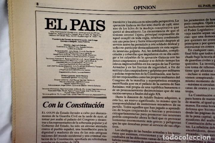 Coleccionismo de Periódico El País: EL PAÍS - 23-F - EDICIÓN DE LAS CUATRO DE LA MADRUGADA - Foto 3 - 243056690