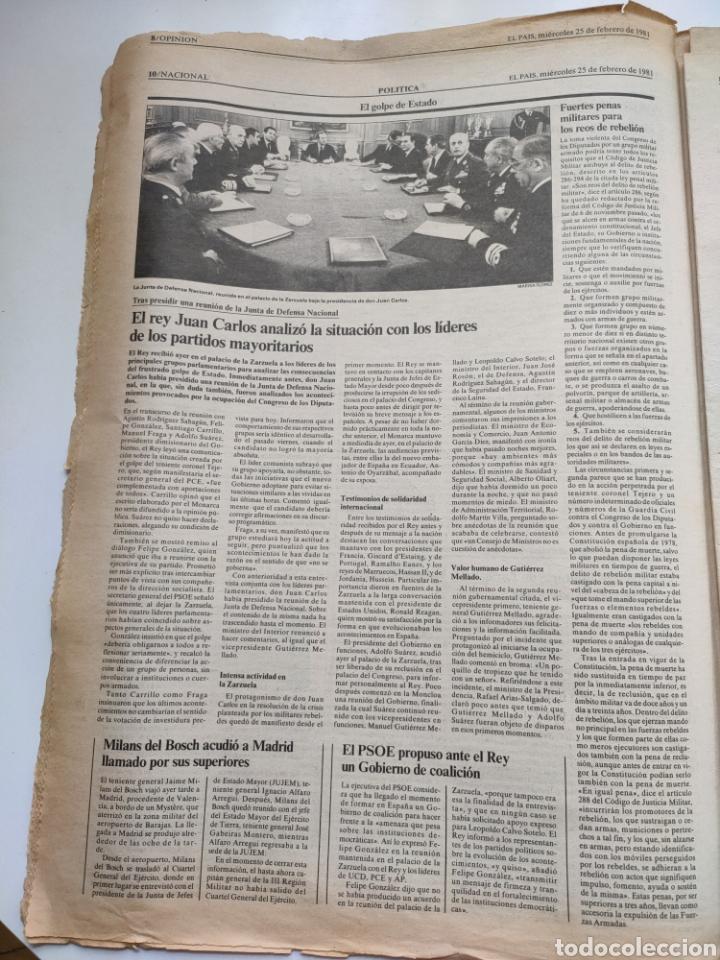 Coleccionismo de Periódico El País: Periódico El País del día 25 de febrero 1981. - Foto 4 - 270224838