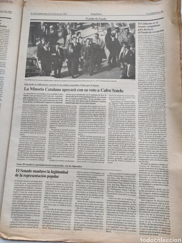 Coleccionismo de Periódico El País: Periódico El País del día 25 de febrero 1981. - Foto 5 - 270224838