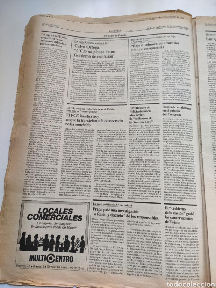Coleccionismo de Periódico El País: Periódico El País del día 25 de febrero 1981. - Foto 6 - 270224838