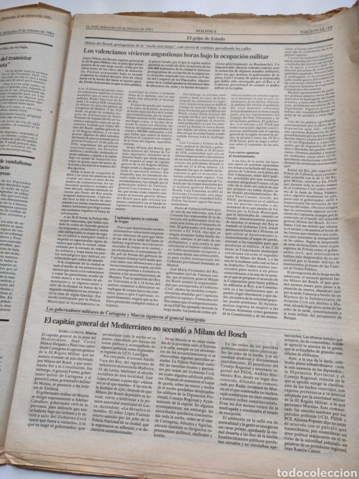 Coleccionismo de Periódico El País: Periódico El País del día 25 de febrero 1981. - Foto 7 - 270224838