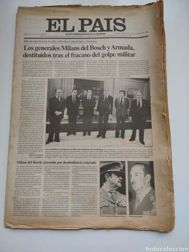 PERIÓDICO EL PAÍS DEL DÍA 25 DE FEBRERO 1981. (Coleccionismo - Revistas y Periódicos Modernos (a partir de 1.940) - Periódico El Páis)
