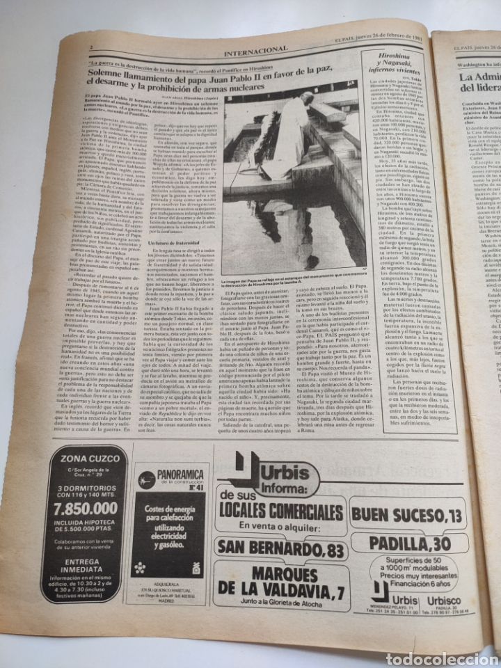 Coleccionismo de Periódico El País: Periódico El País 26 de febrero de 1981. - Foto 2 - 270226138