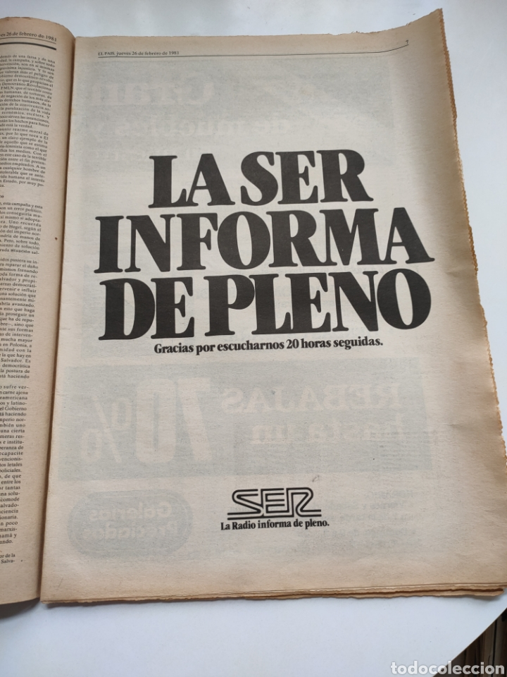 Coleccionismo de Periódico El País: Periódico El País 26 de febrero de 1981. - Foto 3 - 270226138
