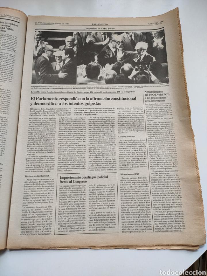 Coleccionismo de Periódico El País: Periódico El País 26 de febrero de 1981. - Foto 6 - 270226138