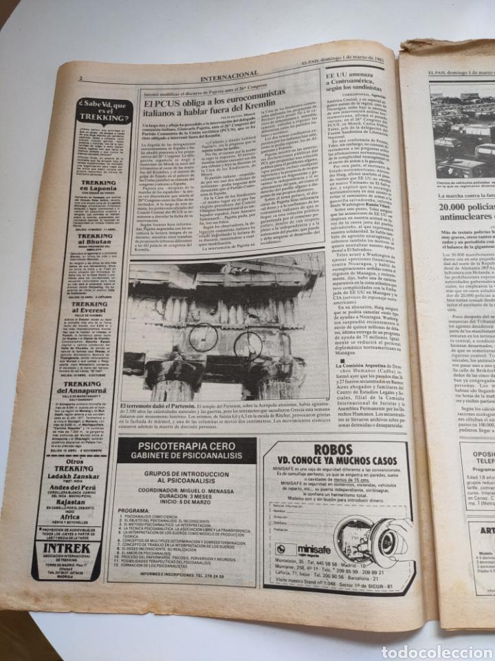 Coleccionismo de Periódico El País: Periódico El País 1 de marzo de 1981. - Foto 2 - 270228203