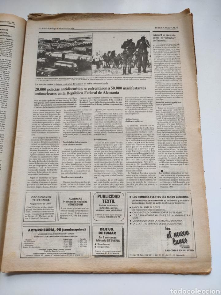 Coleccionismo de Periódico El País: Periódico El País 1 de marzo de 1981. - Foto 3 - 270228203