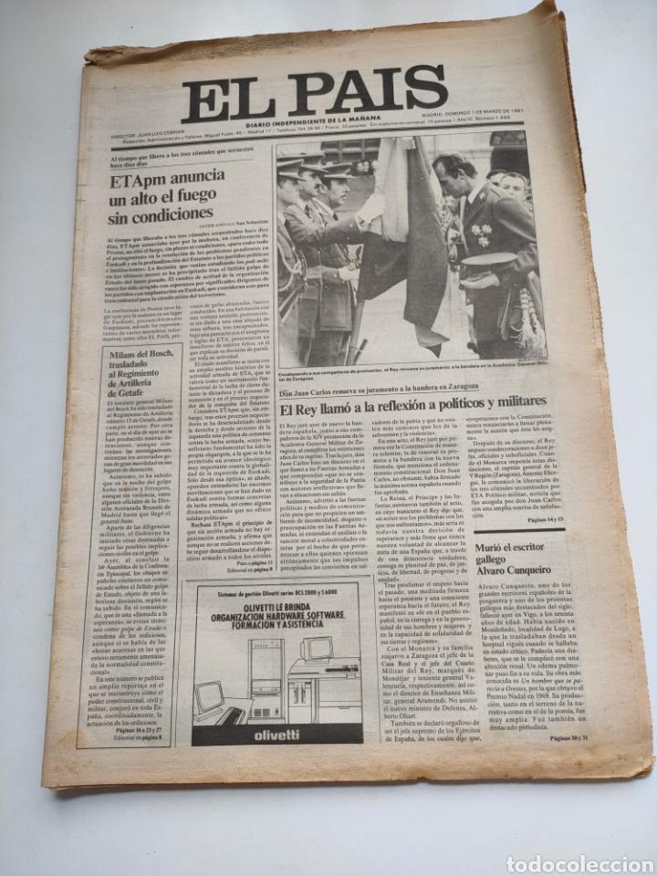 PERIÓDICO EL PAÍS 1 DE MARZO DE 1981. (Coleccionismo - Revistas y Periódicos Modernos (a partir de 1.940) - Periódico El Páis)