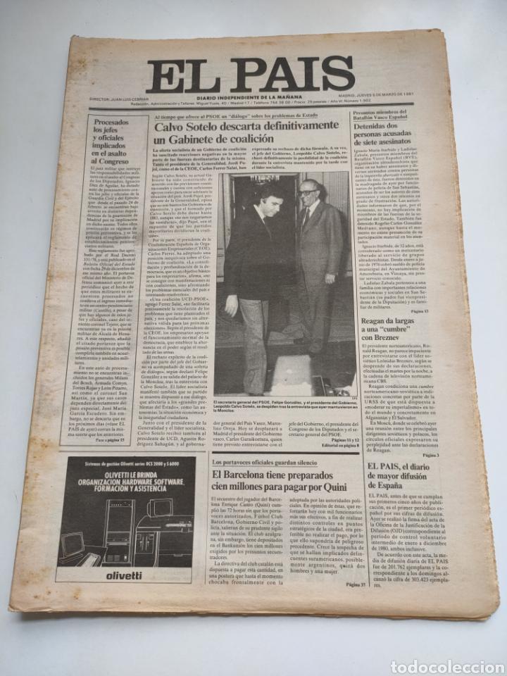 PERIÓDICO EL PAÍS 5 DE MARZO 1981. (Coleccionismo - Revistas y Periódicos Modernos (a partir de 1.940) - Periódico El Páis)