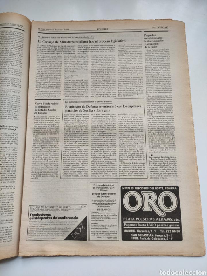 Coleccionismo de Periódico El País: Periódico El País 6 de marzo 1981 - Foto 5 - 270233068