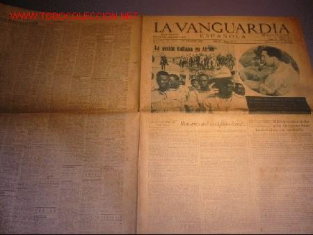 DIARIO LA VANGUARDIA AÑO 1940 -JUEVES 5 DE SEPTIEMBRE DE 1940 - LA ACCION ITALIANA EN AFRICA (Coleccionismo - Revistas y Periódicos Modernos (a partir de 1.940) - Periódico La Vanguardia)