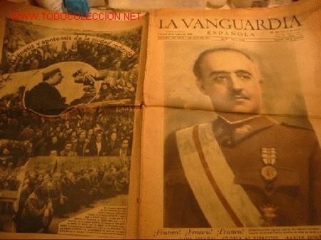 DIARIO LA VANGUARDIA AÑO 1940 -VIERNES 26 DE ENERO DE 1940 - ¡FRANCO! ¡VIVA ESPAÑA! (Coleccionismo - Revistas y Periódicos Modernos (a partir de 1.940) - Periódico La Vanguardia)