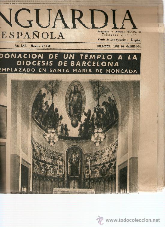 LA VANGUARDIA SEPTIEMBRE 1954.DIOCESIS BARCELONA.MONCADA. (Coleccionismo - Revistas y Periódicos Modernos (a partir de 1.940) - Periódico La Vanguardia)
