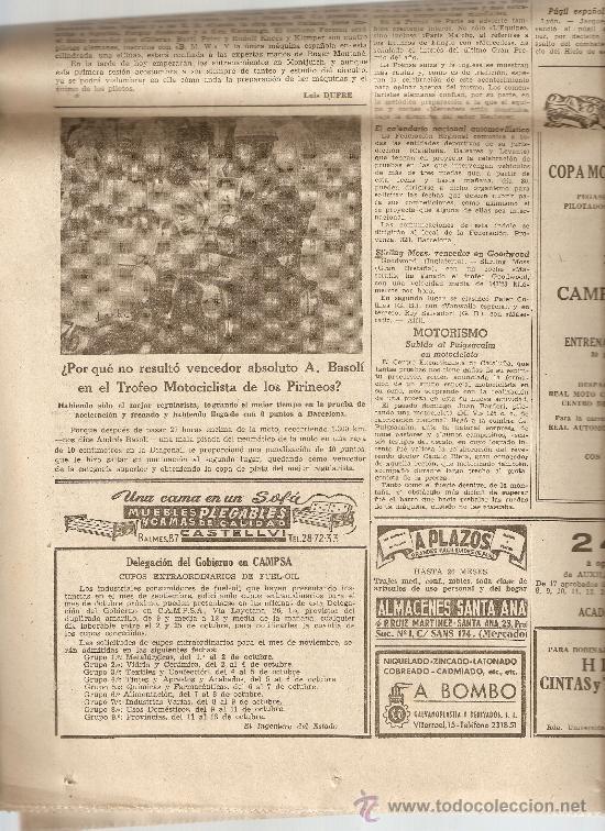 LA VANGUARDIA SEPTIEMBRE 1954.TERRASSA.TARRASA.MOTOCICLISMO.BARCELONA.MONTSERRAT.OMEGA. (Coleccionismo - Revistas y Periódicos Modernos (a partir de 1.940) - Periódico La Vanguardia)