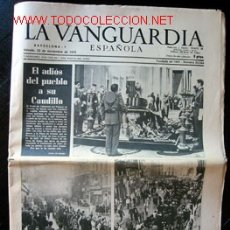 Coleccionismo Periódico La Vanguardia: LA VANGUARDIA - 22 DE NOVIEMBRE DE 1975. Lote 26186144