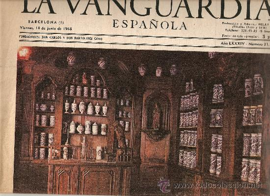 AÑO 1968 EXPOQUIMIA BOTICARIO A FARMACEUTICO ALQUIMISTA FARMACIAS ANTIGUAS INDUSTRIA UTILLAJE (Coleccionismo - Revistas y Periódicos Modernos (a partir de 1.940) - Periódico La Vanguardia)