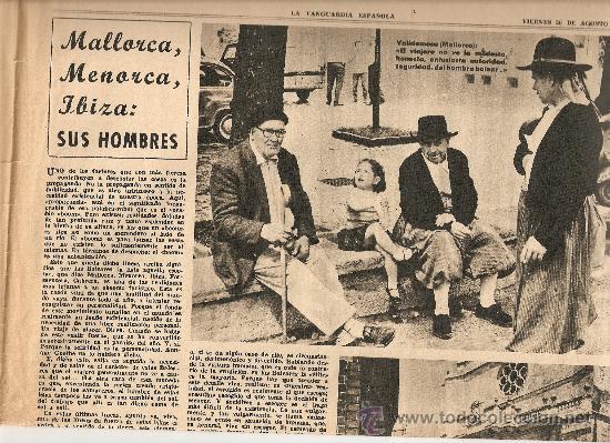 1966 BALEARES ECONOMIA TURISMO GENTES MENORCA CULTO AL DIOS TORO PUBLICIDAD LA LECHERA RELOJ OMEGA (Coleccionismo - Revistas y Periódicos Modernos (a partir de 1.940) - Periódico La Vanguardia)