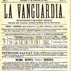 Coleccionismo Periódico La Vanguardia: DIARIO LA VANGUARDIA Nº 1 (1 FEBRERO 1881) (FACSIMIL). Lote 26511036