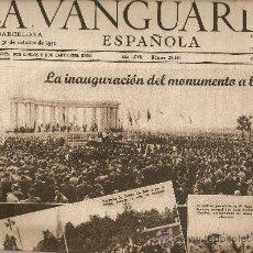 Coleccionismo Periódico La Vanguardia: LA VANGUARDIA.AÑO 1951.PORTADA Y CONTRAPORTADA.INAGURACION MONUMENTO CAIDOS.PUBLICIDAD.. Lote 14072661