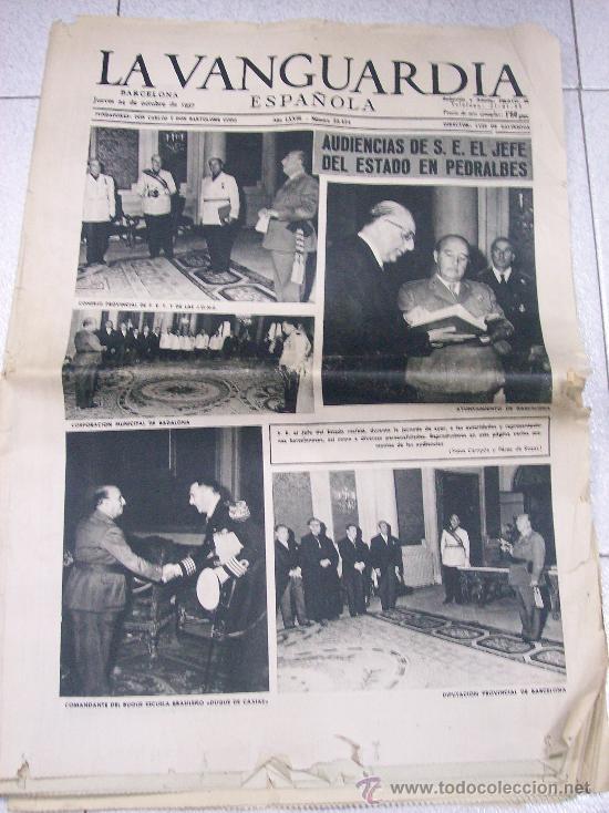 DIARIO LA VANGUARDIA ESPAÑOLA. 24 DE OCTUBRE 1957 / AUDIENCIAS DE FRANCO EN PEDRALBES (Coleccionismo - Revistas y Periódicos Modernos (a partir de 1.940) - Periódico La Vanguardia)