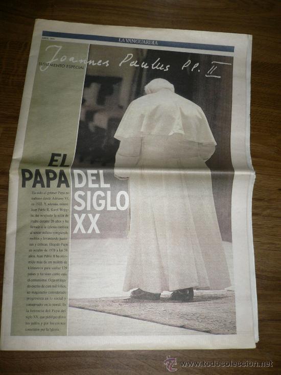 SUPLEMENTO LA VANGUARDIA EL PAPA DEL SIGLO XX (Coleccionismo - Revistas y Periódicos Modernos (a partir de 1.940) - Periódico La Vanguardia)