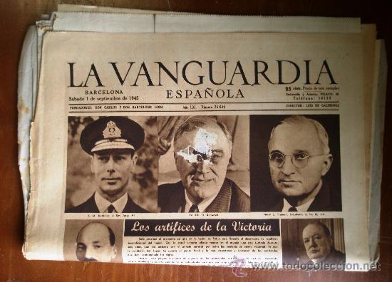 LOTE DE 13 PORTADAS DE LA VANGUARDIA, DE SEPTIEMBRE DE 1945. (Coleccionismo - Revistas y Periódicos Modernos (a partir de 1.940) - Periódico La Vanguardia)